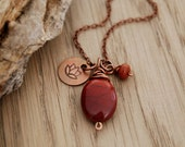 grounding and calming - red jasper chakra necklace - root chakra - lotus yoga jewelry - yoga necklace
