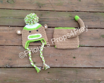 Crochet Photo Prop, Newborn Costume, Sock Monkey Costume, Sock Monkey Beanie, Baby Shower Gift, Photo Props, Crochet Photo Prop, Sock Monkey