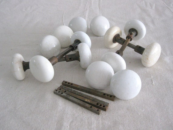 Antique Porcelain Door Knobs One Set Of 2 Door Knobs And