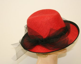 Red Panama Straw Women's Hat, Ladies Fedora, Casual Hat