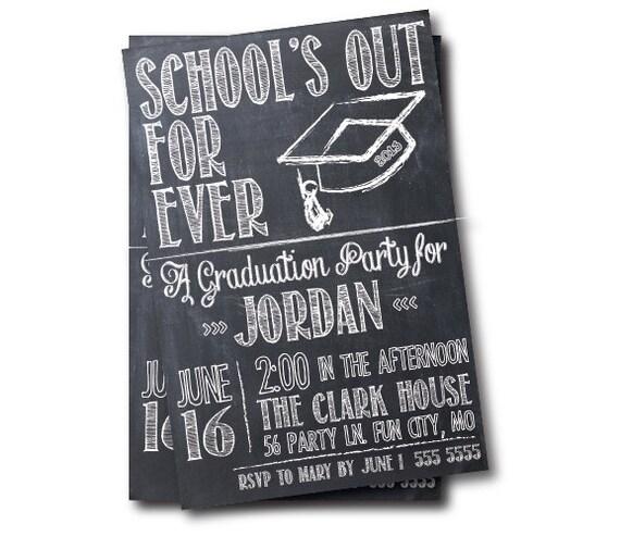 chalkboard graduation invitation printable graduation party, Party invitations