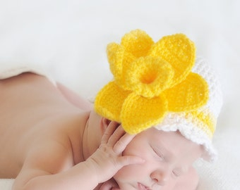 Crochet Daffodil Hat - Girls Easter Hat - Baby Photo Prop - Spring Flower Hat - Baby Shower Gift for Girl - Baby Girl Hat - Flower Sunhat