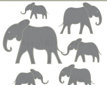 INSTANT DOWNLOAD - Printable Yellow Stitched Mama and Baby Elephant Digital Clip Art - Yellow and Gray - Commercial Use