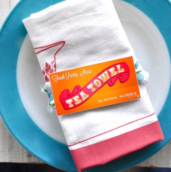 SECONDS SALE Tea Towel SET: Vintage Pyrex Pink And Turquoise