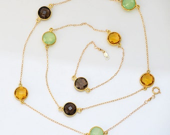 Custom station necklace, long necklace, citrine necklace, bezel set necklace, smokey quartz necklace, green chalcedony necklace, autumn gems