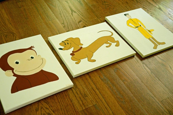 Items Similar To Curious George Hundley And The Man With The Yellow Hat Nursery Art Child