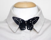 Black unisex leather butterfly tie - bowtie - necktie - adult bow tie - eyelet bow tie - choker - neck strap - leather strap collar - bow