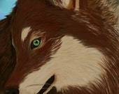 Red Hooded Wolf (Red Aguoti timber wolf) 13x19  Hand signed by artist Bella Lyle print