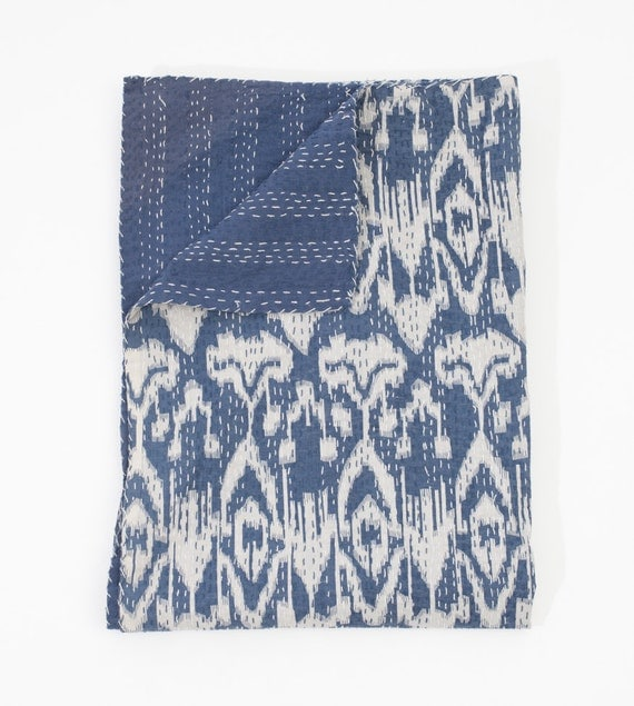 Ikat Bed Cover in Greyish Blue King Size