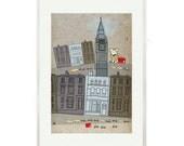 Day in London for CORGI - dog art print - cardigan welsh corgi in LONDON- Pembroke Welsh Corgi-art print by nicemiceforyou