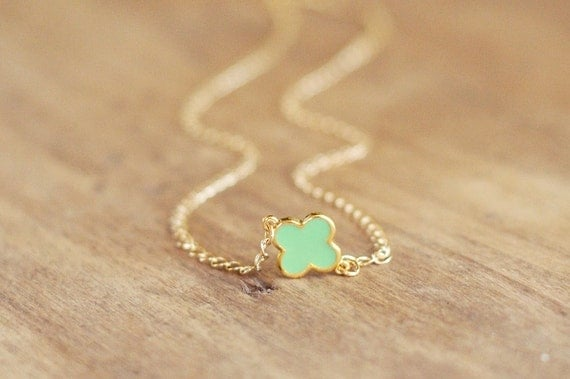 Mint Green and Gold Clover Charm Necklace