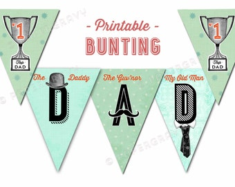 Printable Fathers Day Bunting Retro British Style