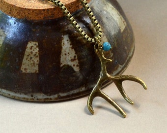 Deer Antler FREE SHIPPING Pendant Boho Antique Bronze Rustic Heavy Box Chain Turquoise Bohemian Elk Horn Long Necklace Fashion Jewelry