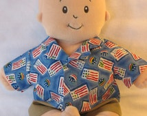 Shorts Set fits Baby Stella Baby Brother Sam & Pottery Barn doll-Patriotic with Flags/Beach Balls-Handmade Doll Clothes-Ready to Ship