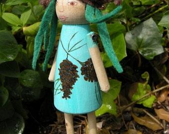 Evergreen Pine Cone Fairy Wood Peg Doll