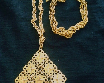 1960s D Orlan Gold Colored Necklace with Large Medallion and Rope Chain. Free Shipping