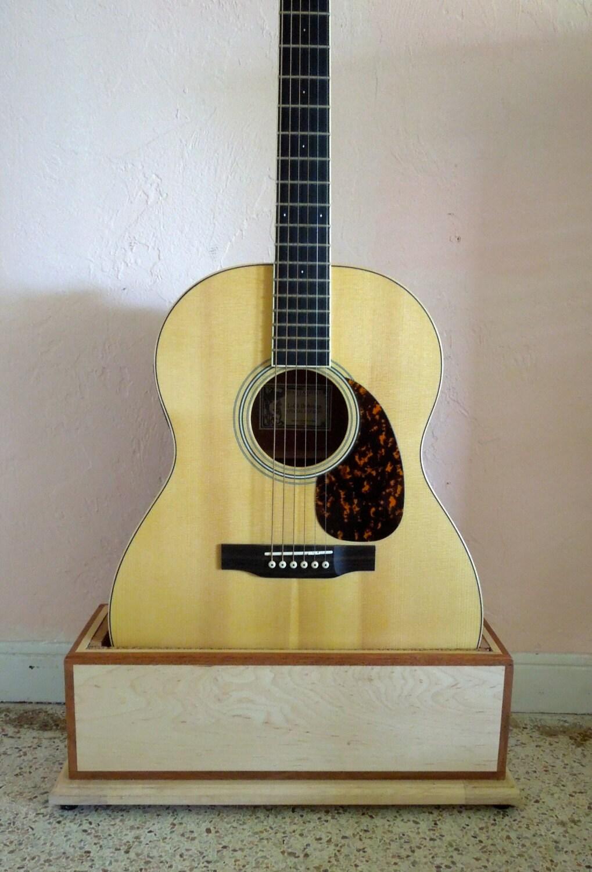 Custom wood guitar stand green life