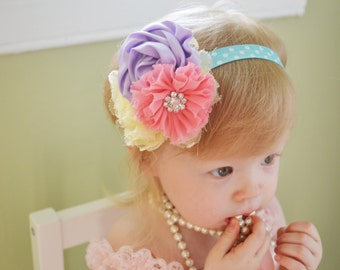 Baby headband, cupcake headband, first birthday headband, newborn headband, baby hair bow, infant headbands, birthday headband, baby shower