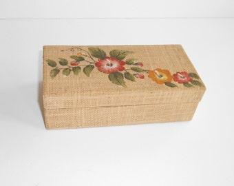Handpainted vintage box - Brush Storage Box