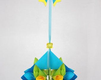 Mobile - Paper Flowers - blue, yellow, green - Origami - paper goods - nursery mobile, baby mobile, bedroom decor - Children's mobile