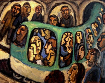 Metro Dream, Paris. Original 18x24 inch Oil on Panel, Urban Industrial Fine Art Subway Painting, Signed Original Fine Art