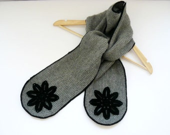 Crochet woman's scarf, grey long neckwarmer, infinity scarf with appliques, wool scarflette, knit winter accessory
