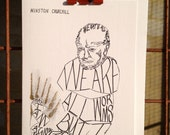 Special person glow worm Winston Churchill white card with gold glitter hand finish 'we are all worms'
