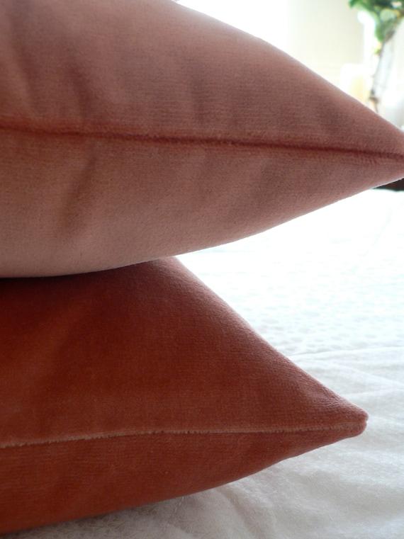Dusty Salmon Pink Velvet Throw Cushion Cover - Small