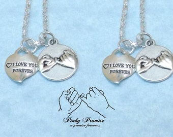 2 I Love You Forever Hearts, Pinky Promise Necklaces, His Hers Couples Necklace, Best Friend Necklace, Boyfriend Girlfriend Pinky Swear