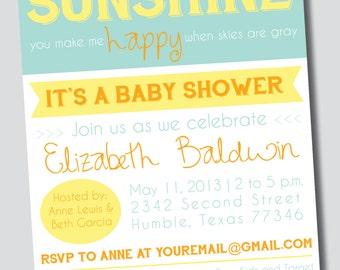 customizable you are my sunshine baby shower invitation