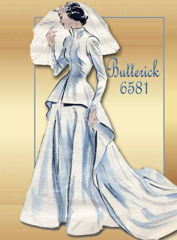 Reserved1950s sewing pattern butterick 6581 wedding dress Butterick wedding dress patterns