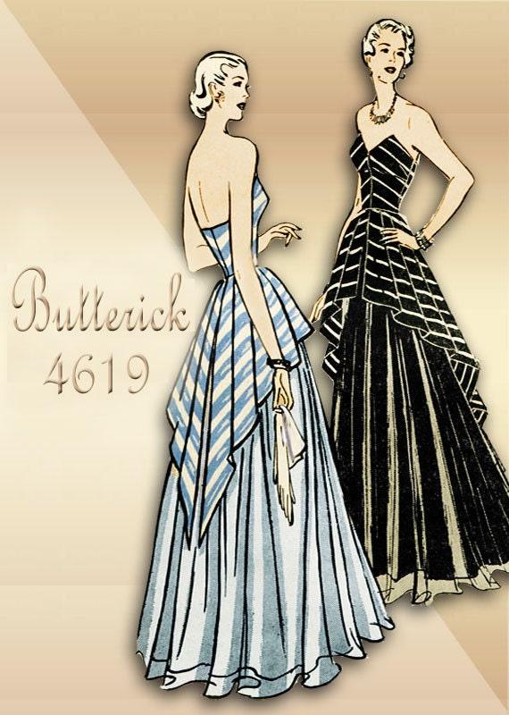 1940s Sewing Pattern Vintage Evening Dress Pattern Butterick