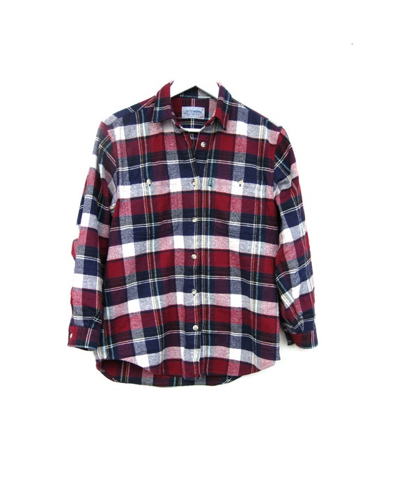 Vintage Plaid Shirt Red Blue White Flannel Grunge Shirt By