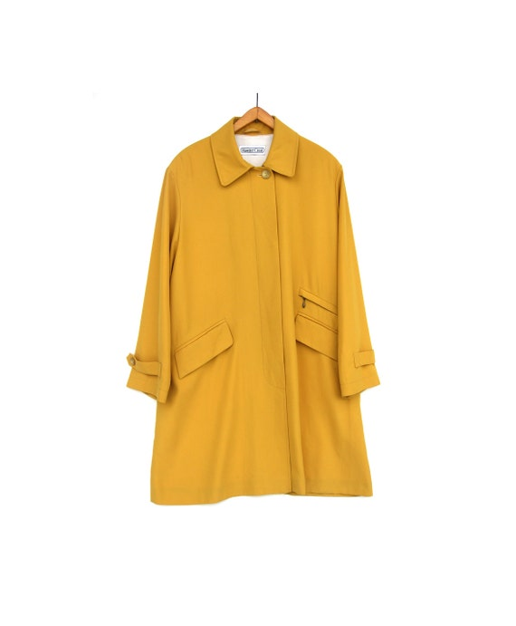 "Vintage Fall Coat - Autumn Spring Yellow Raincoat - Minimalist Long Jacket - "" Rain Master "" - Bright Cocoon- Medium Elegant Outerwear"