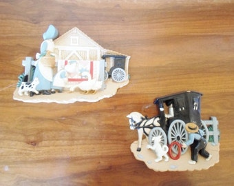 Vintage Set of Burwood Products Co. Amish Inspired Plastic Wall Hangings  Art  Buggy Horse Boy Girl  Dog