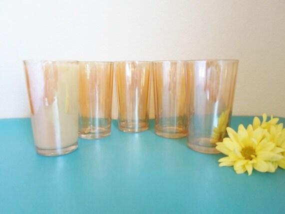 Vintage set of five  Carnival Glass  Marigold Glass  Drink Glass  Glassware