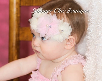 Baby Headband, Infant Headband, Newborn Headband, Toddler Headband -Shabby Chic Headband Pink and Ivory Tulle Flower Headband