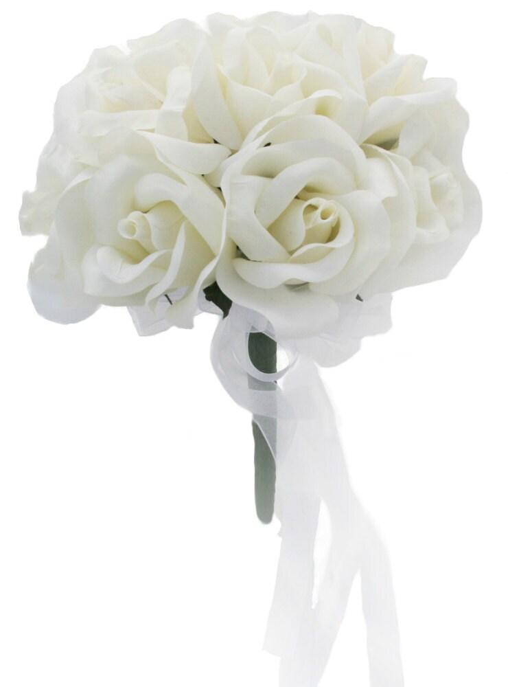 Bridal Bouquet Throwing : Ivory silk rose toss bouquet bridal wedding