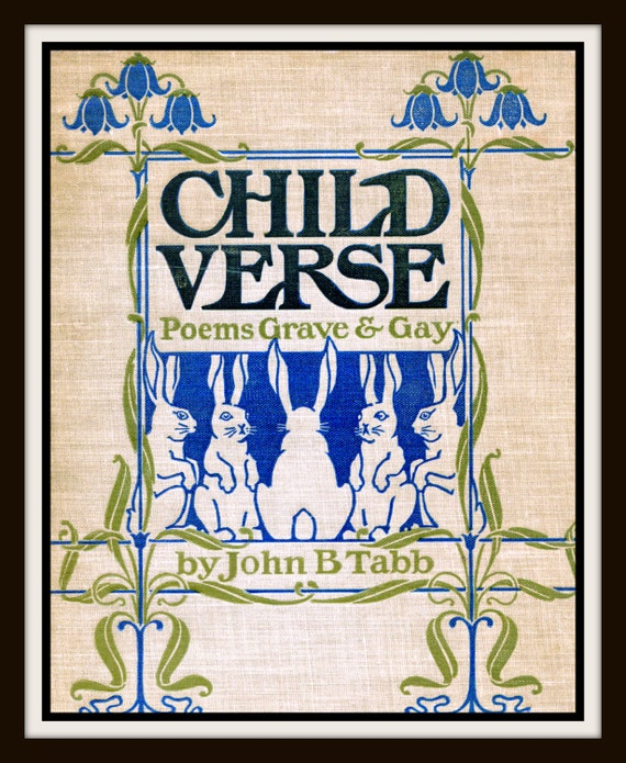 Book Cover Art Etsy : Items similar to vintage book cover quot child s verse poems