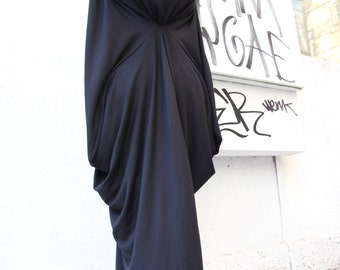 Black Asymmetric Maxi Dress / Loose Extra Long Sleeve Kaftan A03105