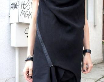 Spring Sleeveless Black Coat / Cotton Coat / Extravagant Asymmetrical Blazer A07096