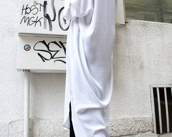White   Long Oversize Loose  Shirt/ Asymmetric Maxi  Shirt/  Summer  Top A11123