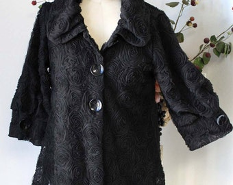 Dashing and Romantic High Fashion artsy jacket in Black Color from size  Medium to 3XL