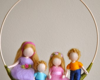 Children  mobile Waldorf inspired needle felted : 2 Girls and  2 Boys sitting in the circle.Made to order.