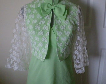 Sale MINT JULEP  2 piece Vintage Dress With Lace Bolero Jacket Size Small