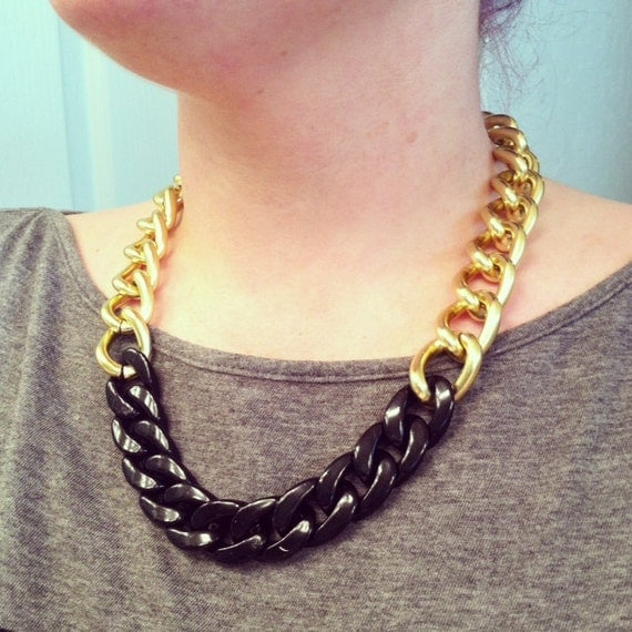 Black And Gold Chain Necklace Chain Link Necklace Black
