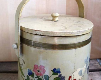 Vintage Wooden Bucket, Firkin Bucket, Handpainted Covered Bucket, Folk Art
