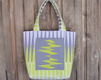 Gray with a Lime Twist Handbag Tote 3 Pockets Magnetic Clasp Machine Embroidered
