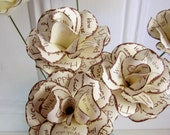 Rustic Wedding Flowers Brown and Cream  Paper Roses with Stems. Set of 12 Can be Personalized