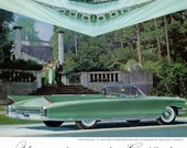 1960 Cadillac CarAd, Emeralds and Diamonds by Van Cleef and Arpels Jewels, Mid Century Green Cadillac, Affordable Wall Decor